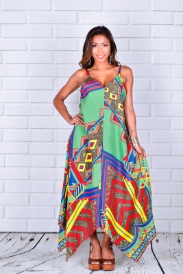 Ethnic Print Irregular Hemline Maxi Dress