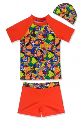 Baby Boys 3pcs Swimsuit Set Cartoon Pattern Short Sleeves Swimwear