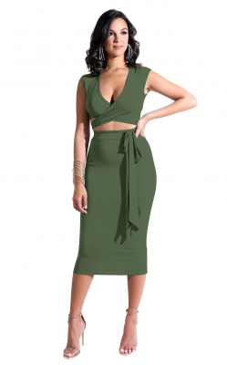 Cross front V-neck women sexy 2pcs solid color bodycon dress