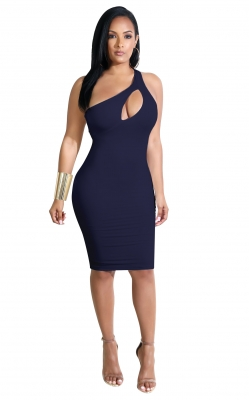 Inclined Shoulder design And Hollow Out In Front Bodycon Dress