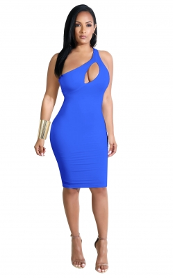 Inclined Shoulder Design Solid pattern Bodycon Dress With Hollow Out In Front