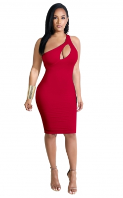 Inclined Shoulder Design And Hollow Out In Front Bodycon Dress Red