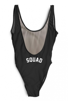 Sexy One Piece High Leg And Open Back Swimwear With Letter Printed SQUAD