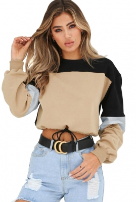 Women round neck long sleeve four-color stitching sweatshirt