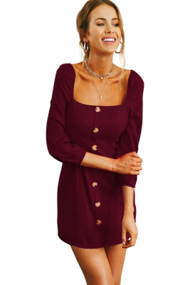 Women Long Sleeve Square Collar Slim Dress  with Button Wine Red