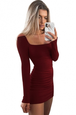 Women Sexy  Long-sleeved Slim   Bodycon  Midi  Dress autumn and winter Dark red