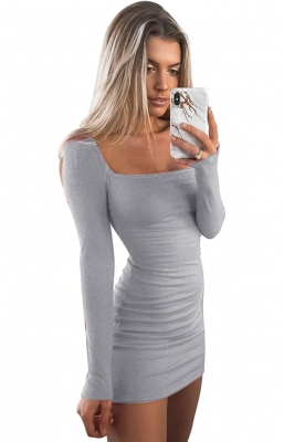 Women Sexy  Long-sleeved Slim   Bodycon  Midi  Dress autumn and winter Grey