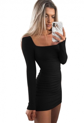 Women Sexy  Long-sleeved Slim   Bodycon  Midi  Dress autumn and winter Black