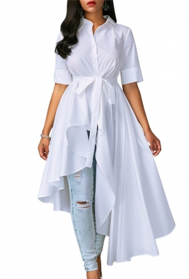 Women Elegant Half Sleeves Blouse With High Low Belted Blouse Top
