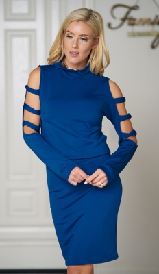 Women long sleeve with holes midi bodycon dress Blue