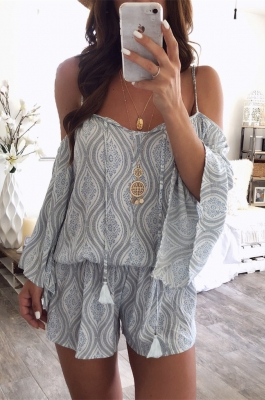 Long Sleeve And Thin Shoulder Straps Jumpsuit With Ethnic Printed