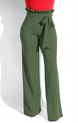 Women bow-knot high waist loosen trousers