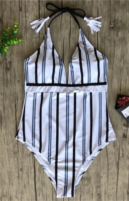 2018 Women New  V- neck  Striped One-piece Swimsuit