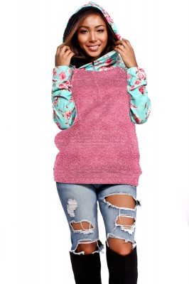 Women Leisure Style Patchwork hoodie With Floral Pattern