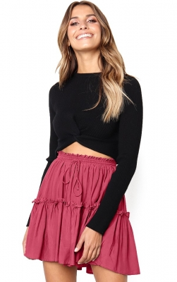 2018 fashion girl lacing Pleated skirt Red