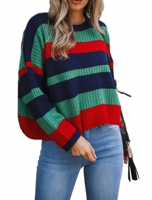 Round Neck Long Sleeve Stitching Loose Sweater Top Green