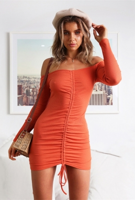 Long Sleeve And Slash Neck Mini Bodycon Dress With Drawstring At Front Orange