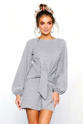 Women Loose Style O neck Mini Dress With Puff Sleeve And Lace Up Detail At Front Grey