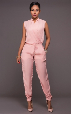 Sleeveless And V-neck Jumpsuit With Tie Fastening At Waist
