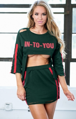 Letter Print Sexy Hollow Dress   T-Shirt style Army Green
