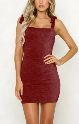 Women Sexy Solid Sleeveless Bandage Dress Mini Dress Wine red