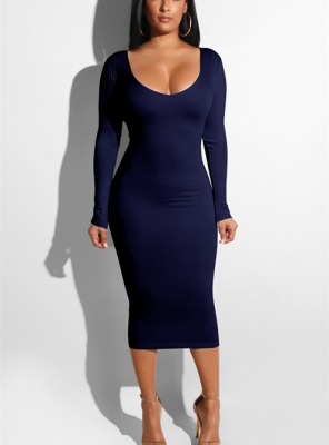 Women Sexy Bandage  Dresses Hollow out  Bodycon Dress Navy Blue