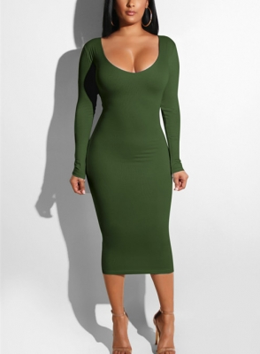 Women Sexy Bandage  Dresses Hollow out  Bodycon Dress Army Green