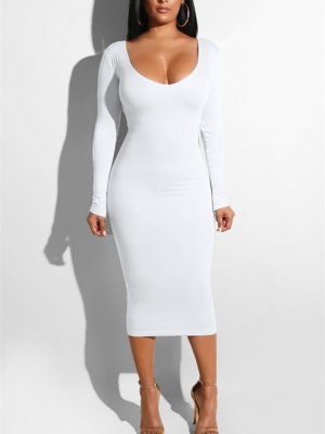 Women Sexy Bandage  Dresses Hollow out  Bodycon Dress White