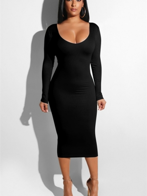 Women Sexy Bandage  Dresses Hollow out  Bodycon Dress Black