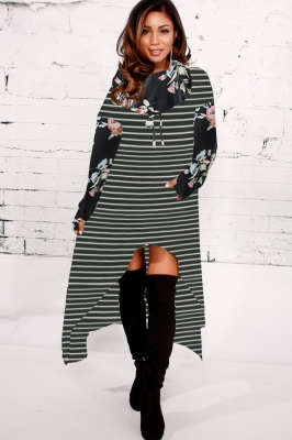 Women Fashion Striped Floral Print High-low Hoodie Dresses Black