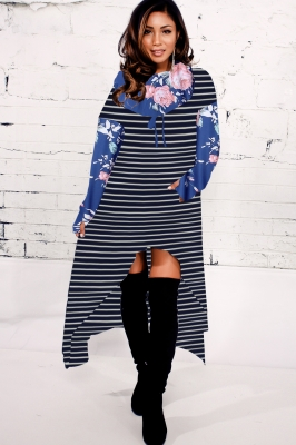 2018 Fashion Striped Floral Print High-low Hoodie Dresses Blue