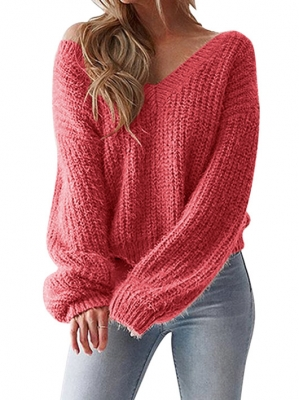 Long Sleeve Deep V-neck  Knit Cardigan Loose Sweaters  Red