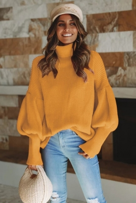Women Turtleneck Lantern sleeve sweater