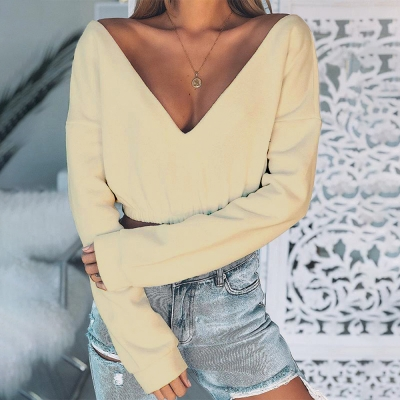Sexy deep v-neck  short Sweatshirt