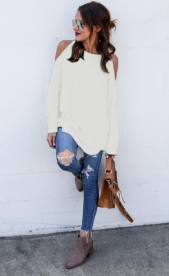 Solid color off-the-shoulder Casual Tops White
