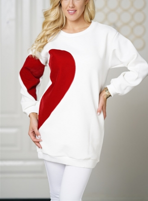 Women Fashion  Tops with Heart Print  Solid Hoodies White