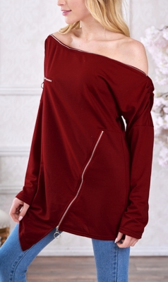 Sexy Slash Neck Long sleeve Tops Hoodies  Wine Red