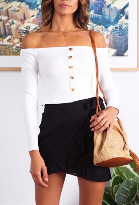 Long Sleeve Slash Neck Tops with Button White