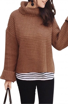 Cozy Long Sleeves Turtleneck Sweater Brown