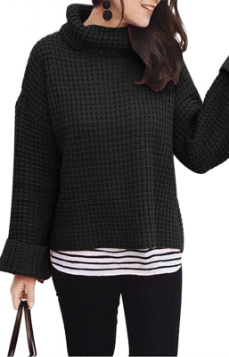 Cozy Long Sleeves Turtleneck Sweater Black
