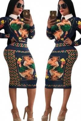 Printed Long Sleeves Women 2 Pcs Bodycon dress