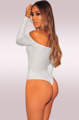 Long Sleeve Off-Shoulder Jumpsuit Bodysuit Grey