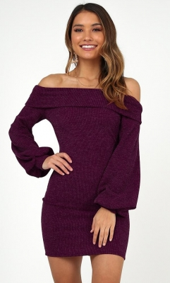 Wine Red Off Shoulder Lantern Sleeve Sweater Dress