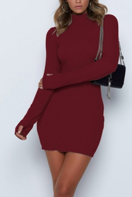Half-high Neck Long-sleeve Gloves Midi Dress Wine Red