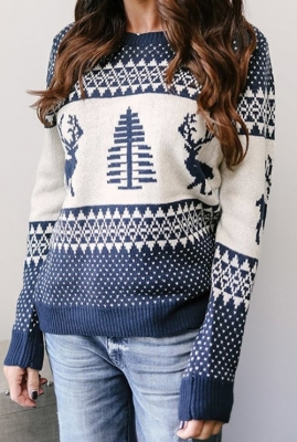 Blue Christmas Tree O-Neck Sweater