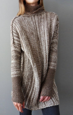 Brown Turtleneck Long Sleeve Knitted Long Sweater