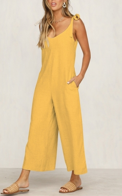 New Arrival women wide leg Jumpsuits Loose type Yellow