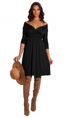 New arrivals Fashion Long Sleeve Solid Deep V-neck Dress Black