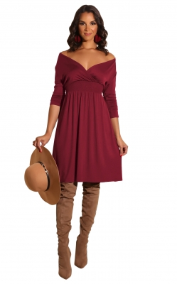 New arrivals Fashion Solid Deep V-neck Dress Wine Red