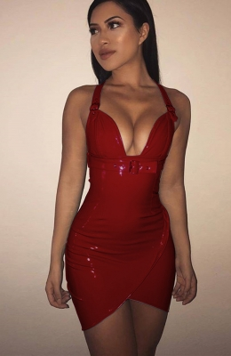 Deep V neck Halter  PU Bright  Leather Bodycon  Dress Red
